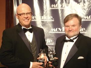 "Chuck and Cary accepting their Crystal Teddy Bear (Special Faith & Values Award) for the ""What If"" movie at the Movieguide Awards."