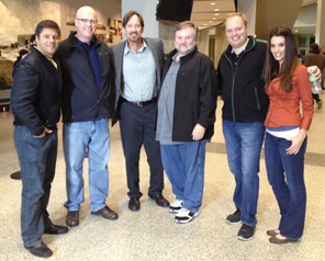L to R – Russell Wolfe (Pure Flix; producer), Chuck Konzelman Kevin Sorbo (role of Prof. Radisson), Cary Solomon, Michael Scott (Pure Flix; producer), Cory Oliver (role of Mina)